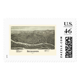 Buckhannon, WV Panoramic Map - 1900 Stamp