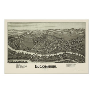 Buckhannon, WV Panoramic Map - 1900 Poster