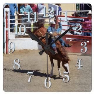 Bucking Bareback Bronco and Rodeo Cowboy Clock