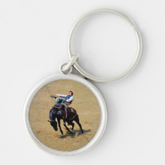 Bucking Bareback Bronco and Rodeo Cowboy #Gift Silver-Colored Round Keychain