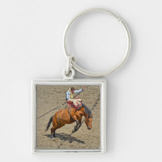 Bucking Bareback Bronco and Rodeo Cowboy #Gift Silver-Colored Square Keychain