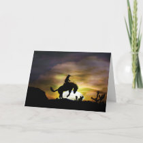 Bucking Bronc Cowboy Rider Birthday Card