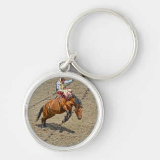 Bucking Bronco and Rodeo Cowboy #Gift Silver-Colored Round Keychain