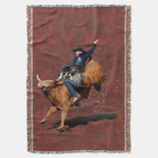Bucking Bronco and Rodeo Cowboy Throw Blanket