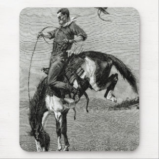 Bucking Bronco Buster Cowboy Mouse Pad