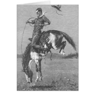 Bucking Bronco by Remington, Vintage Rodeo Cowboys Card