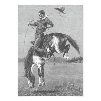 Bucking Bronco by Remington, Vintage Rodeo Cowboys 5x7 Paper Invitation Card