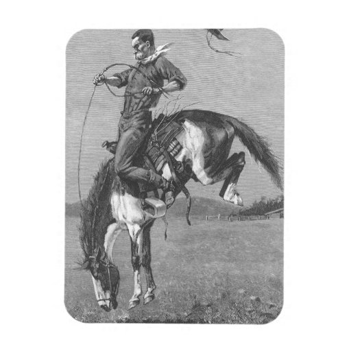 Bucking Bronco by Remington, Vintage Rodeo Cowboys Rectangle Magnets