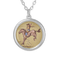 Bucking bronco cowboy at heart necklace