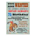 Bucking Bronco Cowboy Birthday Party Invitaiton Announcement