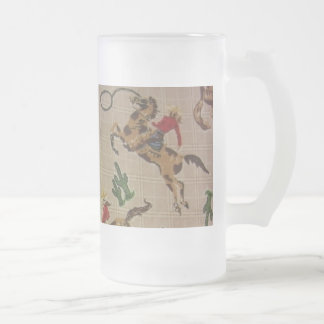 Bucking Bronco Frosted Glass Beer Mug