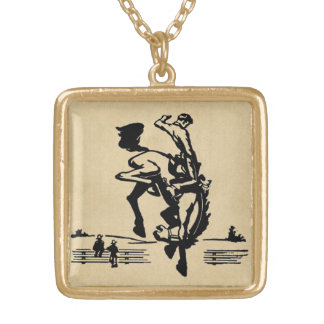 Bucking Bronco Horse and Rider Gold Plated Necklace