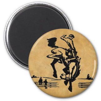 Bucking Bronco Horse and Rider Magnet