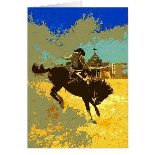 Bucking Bronco Pop Art Greetngs Card