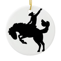 Bucking Bronco Rider Ceramic Ornament