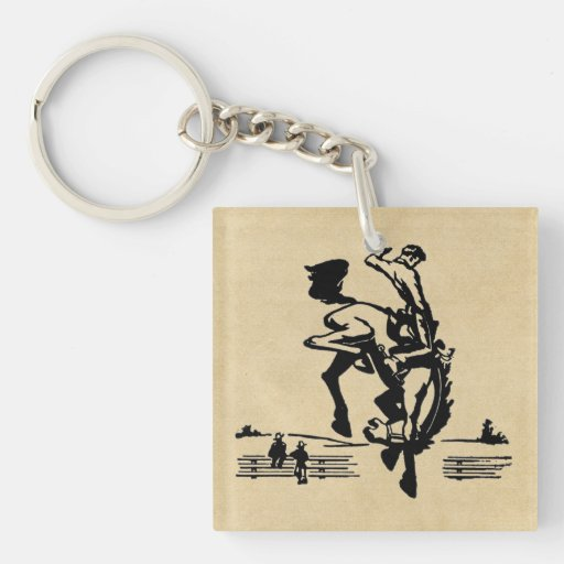 Bucking Bronco Rider Double-Sided Square Acrylic Keychain