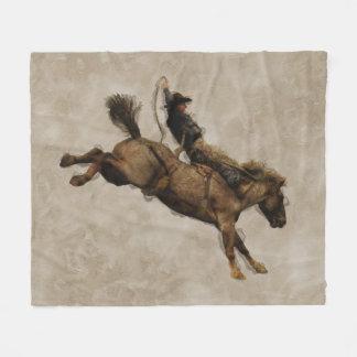 Bucking Bronco Rodeo Cowboy Fleece Blanket