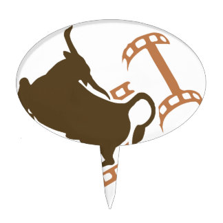 Bucking Bull Film Reel Cake Topper