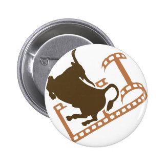 Bucking Bull Film Reel Pinback Button