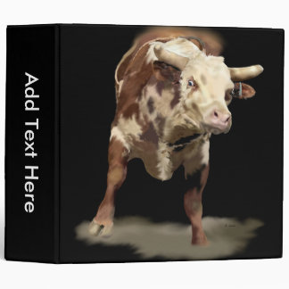 Bucking Bull Portrait Print 3 Ring Binder