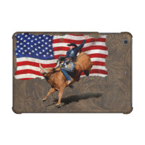 Bucking Bull Rodeo Cowboy, US Flag on Faux Leather iPad Mini Case