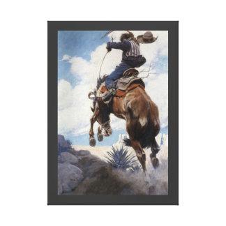 Bucking by NC Wyeth Vintage Western Cowboys Canvas Print