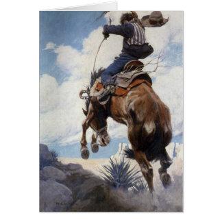 Bucking by NC Wyeth, Vintage Western Cowboys Greeting Cards