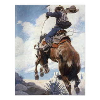 Bucking by NC Wyeth, Vintage Western Cowboys Personalized Announcements