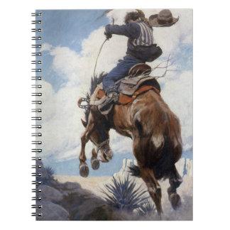 Bucking by NC Wyeth, Vintage Western Cowboys Spiral Notebook
