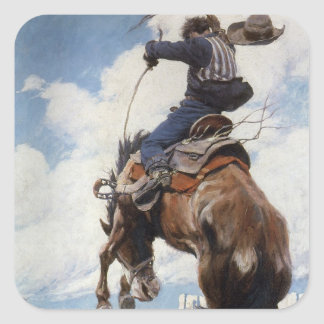Bucking by NC Wyeth, Vintage Western Cowboys Square Sticker