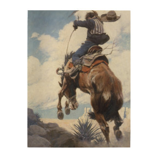 Bucking by NC Wyeth Vintage Western Cowboys Wood Canvases