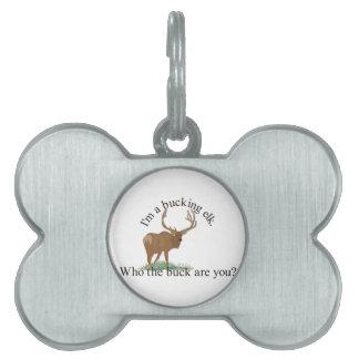 Bucking Elk Pet Name Tag