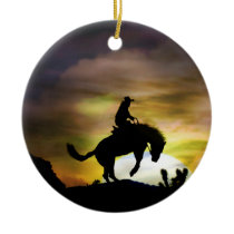 Bucking Horse and Cowboy Ornament