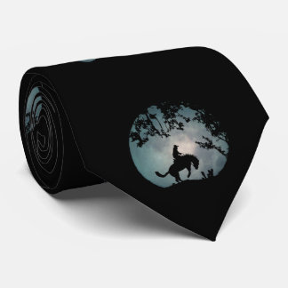 Bucking Horse, Cowboy and Moon Neck Tie