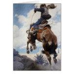 Bucking por NC Wyeth, navidad del vaquero del vint Felicitacion