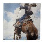 Bucking por NC Wyeth, vaqueros occidentales del Azulejos Cerámicos