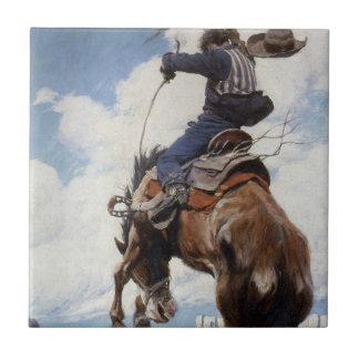 Bucking por NC Wyeth, vaqueros occidentales del Azulejo Cuadrado Pequeño