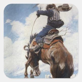 Bucking por NC Wyeth, vaqueros occidentales del Pegatina Cuadrada
