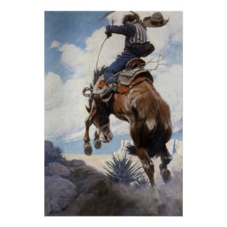 Bucking por NC Wyeth, vaqueros occidentales del Póster