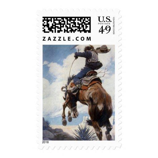 Bucking por NC Wyeth, vaqueros occidentales del Sello