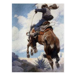 Bucking por NC Wyeth, vaqueros occidentales del Postales