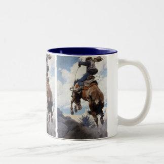 Bucking por NC Wyeth, vaqueros occidentales del vi Tazas De Café