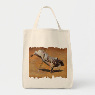 Bucking Rodeo Bull on faux Parchment Designer Gift Tote Bag