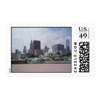 Buckingham Fountain and Chicago Skyline Stamp