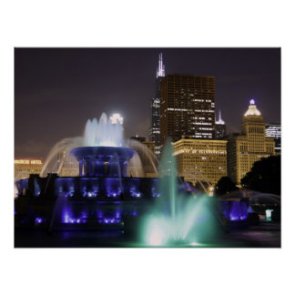 Buckingham Fountain at Night Posters