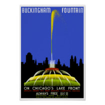 Buckingham Fountain Chicago Vintage WPA Poster