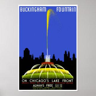 Buckingham Fountain Chicago Vintage WPA Poster