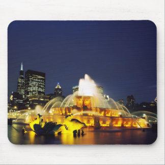 Buckingham Fountain illuminated, Chicago Mouse Pads