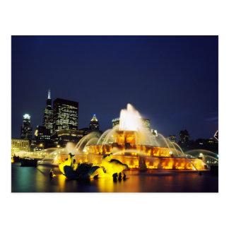 Buckingham Fountain illuminated, Chicago Postcard