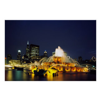 Buckingham Fountain illuminated, Chicago Poster